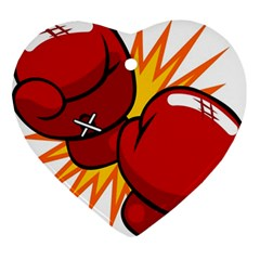 Boxing Gloves Red Orange Sport Ornament (heart) by Alisyart