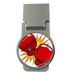 Boxing Gloves Red Orange Sport Money Clips (round)  by Alisyart