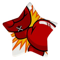 Boxing Gloves Red Orange Sport Star Ornament (two Sides) by Alisyart
