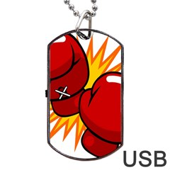 Boxing Gloves Red Orange Sport Dog Tag Usb Flash (one Side) by Alisyart