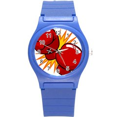 Boxing Gloves Red Orange Sport Round Plastic Sport Watch (s) by Alisyart