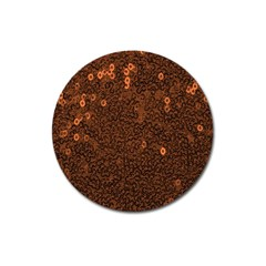 Brown Sequins Background Magnet 3  (round) by Simbadda