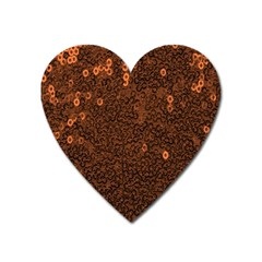 Brown Sequins Background Heart Magnet by Simbadda