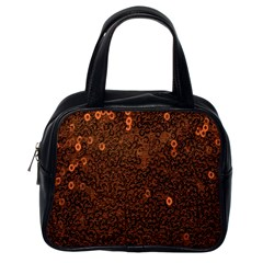Brown Sequins Background Classic Handbags (one Side)