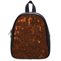 Brown Sequins Background School Bags (small)  by Simbadda