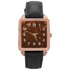 Brown Sequins Background Rose Gold Leather Watch  by Simbadda