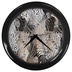 Floral Pattern Background Wall Clocks (black) by Simbadda
