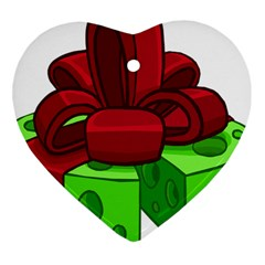 Cheese Green Heart Ornament (two Sides) by Alisyart