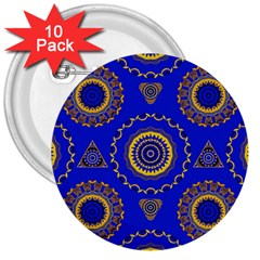 Abstract Mandala Seamless Pattern 3  Buttons (10 Pack)  by Simbadda