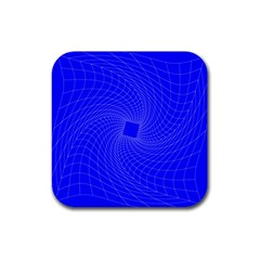 Blue Perspective Grid Distorted Line Plaid Rubber Square Coaster (4 Pack)  by Alisyart