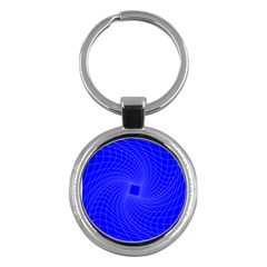Blue Perspective Grid Distorted Line Plaid Key Chains (round)  by Alisyart