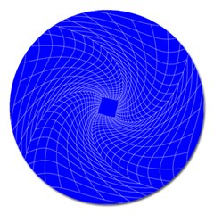 Blue Perspective Grid Distorted Line Plaid Magnet 5  (round) by Alisyart