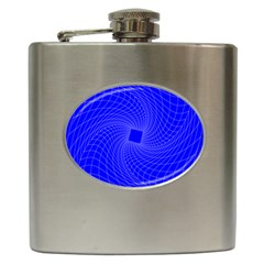 Blue Perspective Grid Distorted Line Plaid Hip Flask (6 Oz) by Alisyart