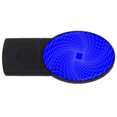 Blue Perspective Grid Distorted Line Plaid Usb Flash Drive Oval (2 Gb) by Alisyart