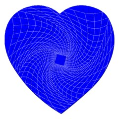 Blue Perspective Grid Distorted Line Plaid Jigsaw Puzzle (heart) by Alisyart