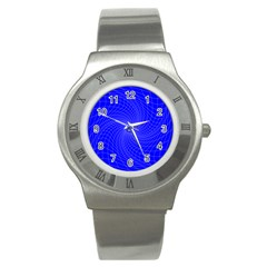 Blue Perspective Grid Distorted Line Plaid Stainless Steel Watch by Alisyart