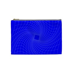 Blue Perspective Grid Distorted Line Plaid Cosmetic Bag (medium)  by Alisyart