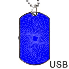 Blue Perspective Grid Distorted Line Plaid Dog Tag Usb Flash (one Side) by Alisyart