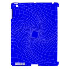 Blue Perspective Grid Distorted Line Plaid Apple Ipad 3/4 Hardshell Case (compatible With Smart Cover) by Alisyart