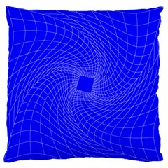 Blue Perspective Grid Distorted Line Plaid Large Cushion Case (one Side) by Alisyart