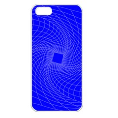 Blue Perspective Grid Distorted Line Plaid Apple Iphone 5 Seamless Case (white) by Alisyart