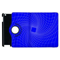Blue Perspective Grid Distorted Line Plaid Apple Ipad 2 Flip 360 Case by Alisyart