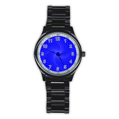 Blue Perspective Grid Distorted Line Plaid Stainless Steel Round Watch by Alisyart