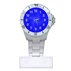 Blue Perspective Grid Distorted Line Plaid Plastic Nurses Watch by Alisyart