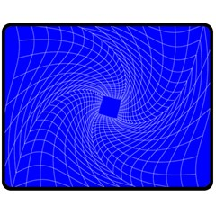 Blue Perspective Grid Distorted Line Plaid Double Sided Fleece Blanket (medium)  by Alisyart