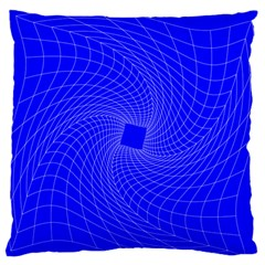 Blue Perspective Grid Distorted Line Plaid Large Flano Cushion Case (two Sides) by Alisyart