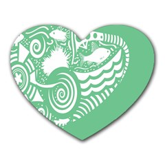 Fish Star Green Heart Mousepads by Alisyart
