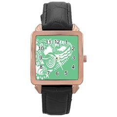 Fish Star Green Rose Gold Leather Watch  by Alisyart