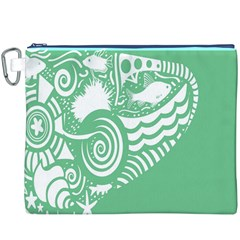 Fish Star Green Canvas Cosmetic Bag (xxxl) by Alisyart