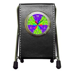 Complex Beauties Color Line Tie Purple Green Light Pen Holder Desk Clocks by Alisyart