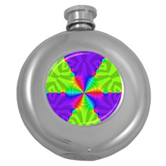 Complex Beauties Color Line Tie Purple Green Light Round Hip Flask (5 Oz) by Alisyart