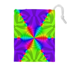 Complex Beauties Color Line Tie Purple Green Light Drawstring Pouches (extra Large) by Alisyart
