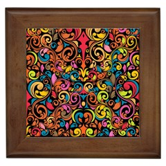 Chisel Carving Leaf Flower Color Rainbow Framed Tiles by Alisyart