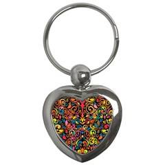 Chisel Carving Leaf Flower Color Rainbow Key Chains (heart)  by Alisyart