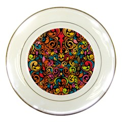 Chisel Carving Leaf Flower Color Rainbow Porcelain Plates by Alisyart