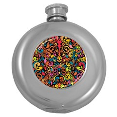 Chisel Carving Leaf Flower Color Rainbow Round Hip Flask (5 Oz) by Alisyart