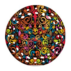 Chisel Carving Leaf Flower Color Rainbow Ornament (round Filigree) by Alisyart
