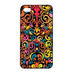 Chisel Carving Leaf Flower Color Rainbow Apple Iphone 4/4s Seamless Case (black) by Alisyart