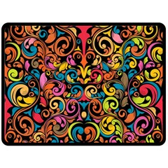 Chisel Carving Leaf Flower Color Rainbow Double Sided Fleece Blanket (large)  by Alisyart