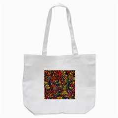 Chisel Carving Leaf Flower Color Rainbow Tote Bag (white) by Alisyart