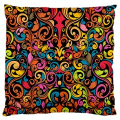 Chisel Carving Leaf Flower Color Rainbow Large Flano Cushion Case (two Sides) by Alisyart