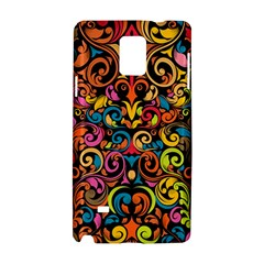 Chisel Carving Leaf Flower Color Rainbow Samsung Galaxy Note 4 Hardshell Case by Alisyart