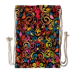 Chisel Carving Leaf Flower Color Rainbow Drawstring Bag (large) by Alisyart