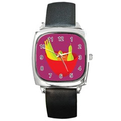 Fruitbowl Llustrations Fruit Banana Orange Guava Square Metal Watch by Alisyart
