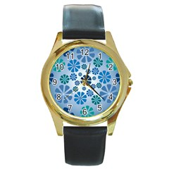 Geometric Flower Stair Round Gold Metal Watch by Alisyart