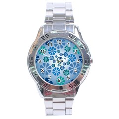 Geometric Flower Stair Stainless Steel Analogue Watch by Alisyart